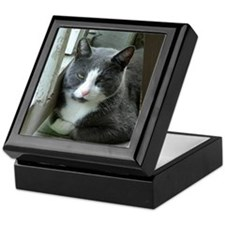Grey and White Cat Keepsake Box