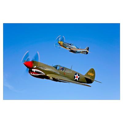 A P 40E Warhawk and a P 51D Mustang Kimberly Kaye Poster