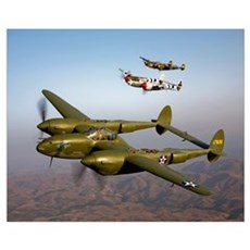 Three Lockheed P 38 Lightnings in flight Framed Print