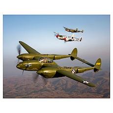 Three Lockheed P 38 Lightnings in flight Poster