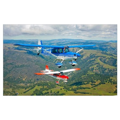Two Champion Aircraft Citabrias in flight Poster