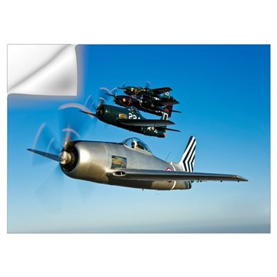 Two Grumman F8F Bearcats and two F7F Tigercats fly Wall Decal