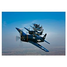 Five Grumman F8F Bearcats in formation Framed Print