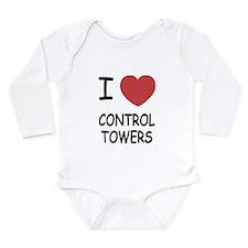 I heart control towers Long Sleeve Infant Bodysuit