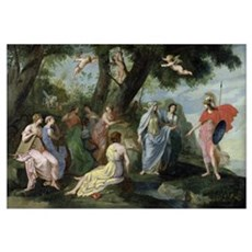 Minerva with the Muses (oil on canvas) Poster