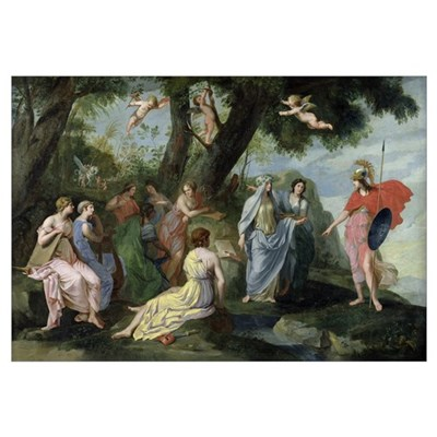 Minerva with the Muses (oil on canvas) Framed Print