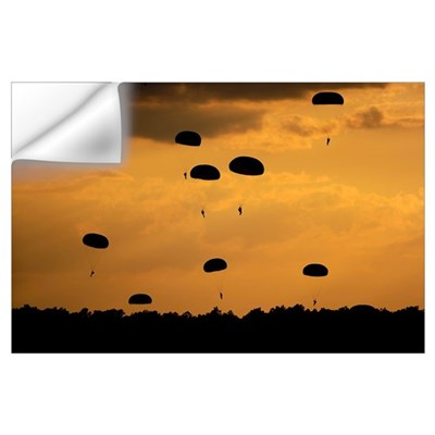 U.S. Army Soldiers parachute through the sky Wall Decal