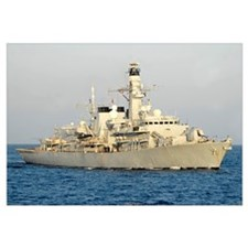 The Royal Navy frigate HMS Monmouth transits the A