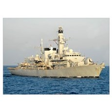 The Royal Navy frigate HMS Monmouth transits the A Poster