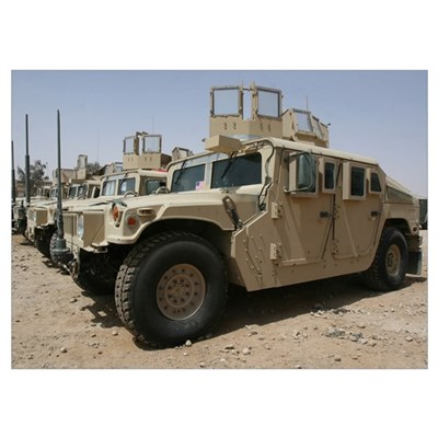 A row of humvees from Task Force Military Police Poster