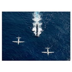 Two P 3 Orion maritime surveillance aircraft fly o Poster
