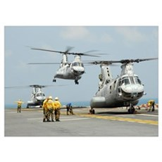 A CH 46E Sea Knight takes off from the flight deck Poster