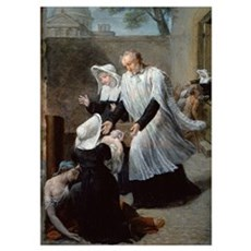 St. Vincent de Paul Helping the Plague-Ridden (oil Poster