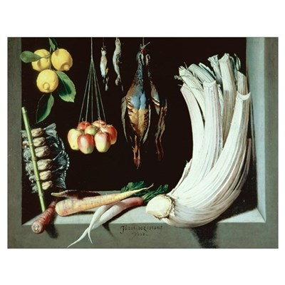 Still life with dead birds, fruit and vegetables, Poster