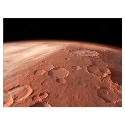 Heavily cratered highlands on the surface of Mars Poster