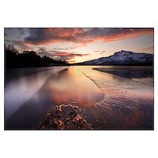 A frozen Straumen Lake on Tjeldoya Island in Nordl