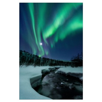 Aurora Borealis over Blafjellelva River in Troms C Poster