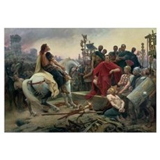 Vercingetorix throws down his arms at the feet of Framed Print