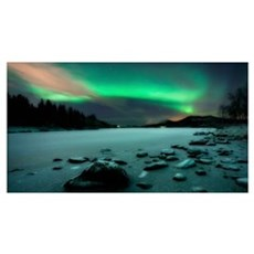 Aurora Borealis over Sandvannet Lake in Troms Coun Framed Print