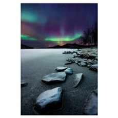 Aurora Borealis over Sandvannet Lake in Troms Coun Poster