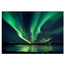 Aurora Borealis over Tjeldsundet in Troms County,  Framed Print