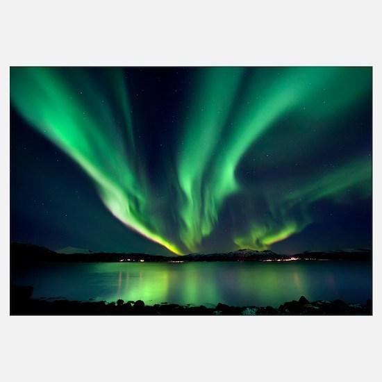 Aurora Borealis over Tjeldsundet in Troms County,