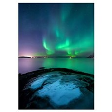 Aurora Borealis over Vagsfjorden outside of Harsta Poster