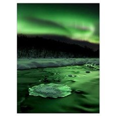 Aurora Borealis reflects off the Tennevik River, T Poster