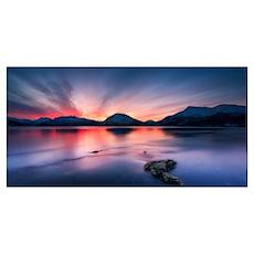 Sunset over Tjeldsundet, Troms County, Norway Poster
