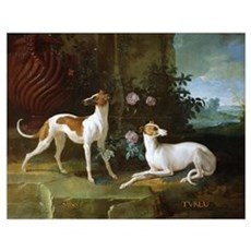 Misse and Turlu, two greyhounds of Louis XV (oil o Poster