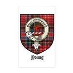 Young Clan Crest Tartan Rectangle Sticker