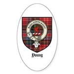 Young Clan Crest Tartan Oval Sticker