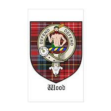 Wood Clan Crest Tartan Rectangle Bumper Stickers