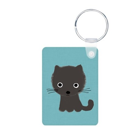 Grey Kitty Aluminum Photo Keychain