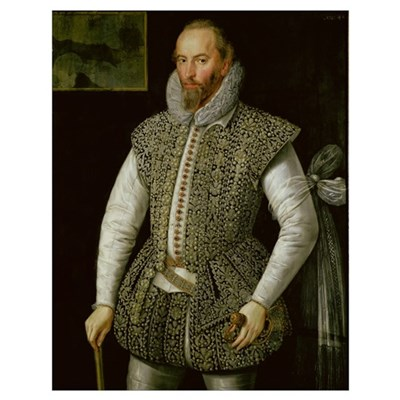 Portrait of Sir Walter Raleigh, 1598 (oil on panel Poster