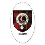 Wallace Clan Crest Tartan Oval Sticker