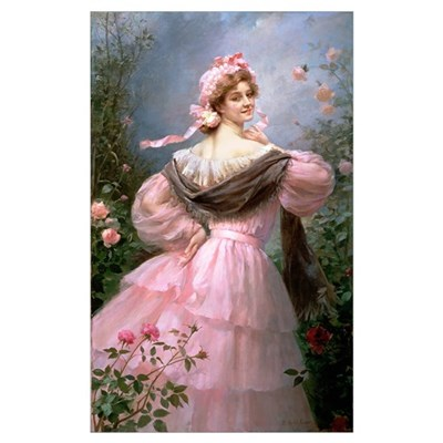 Elegant woman in a rose garden Canvas Art