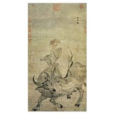Lao-tzu (c.604-531 BC) riding his ox, Chinese, Min Framed Print