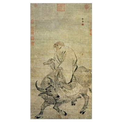 Lao-tzu (c.604-531 BC) riding his ox, Chinese, Min Poster