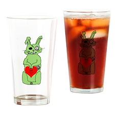 Zombie Bunni Valentine Drinking Glass
