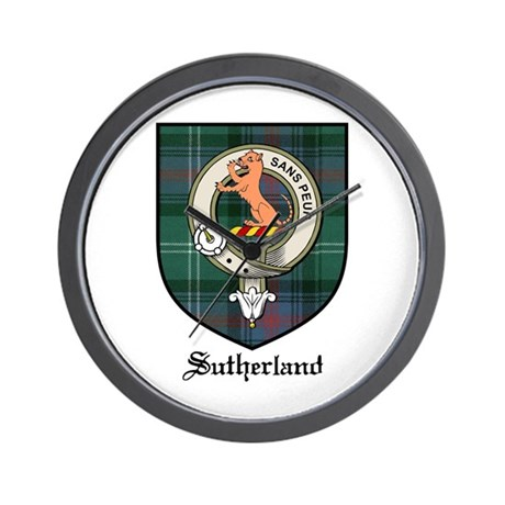 Sutherland Clan Crest Tartan Wall Clock
