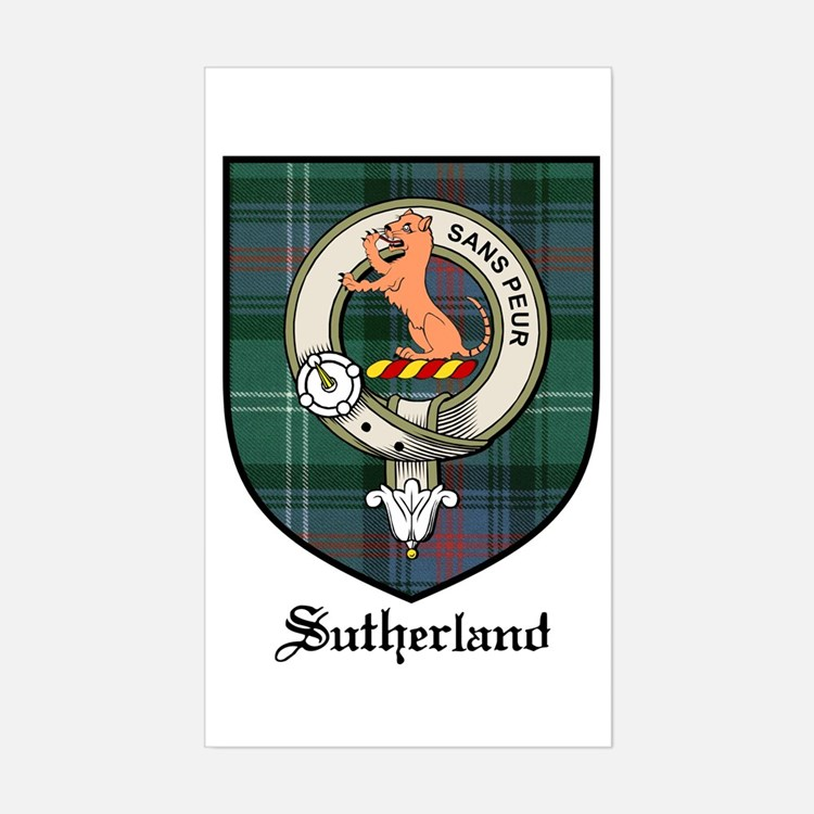 Sutherland Clan Crest Tartan Rectangle Decal