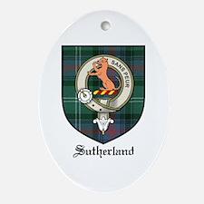 Sutherland Clan Crest Tartan Oval Ornament