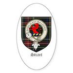 Stuart Clan Crest Tartan Oval Sticker