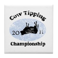 Vintage Cow Tipping Champions Tile Coaster