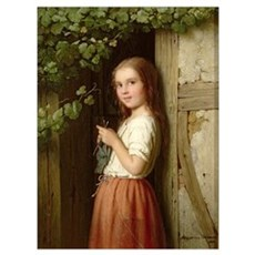 Young Girl Standing in a Doorway Knitting, 1863 (o Framed Print