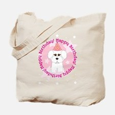 Happy Birthday Bichon Frise Tote Bag