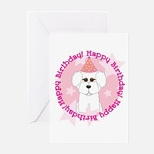 Happy Birthday Bichon Frise Greeting Cards (Pk of