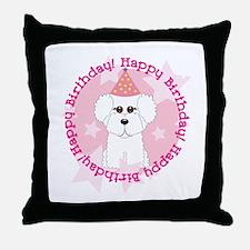 Happy Birthday Bichon Frise Throw Pillow