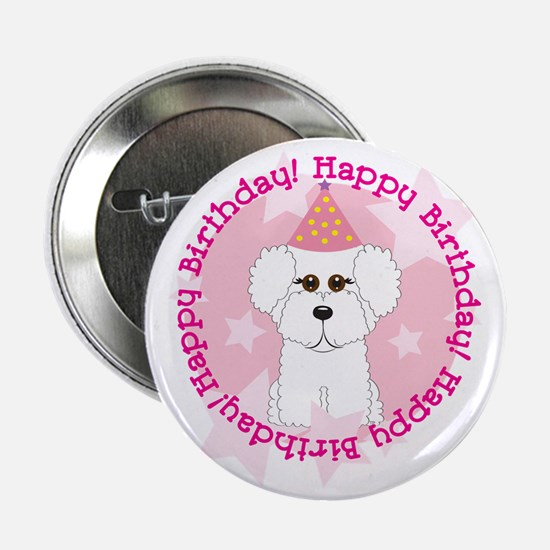 "Happy Birthday Bichon Frise 2.25"" Button"
